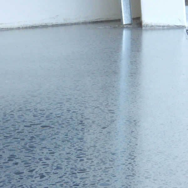 Polished concrete floor in a garage